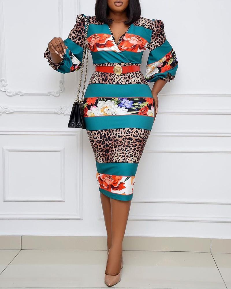 ivrose / Floral Cheetah Print Puff Sleeve Wrap Midi Dress