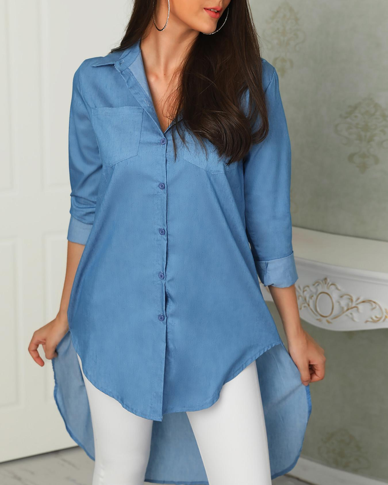 Denim Solid Button Dip Hem Blouse