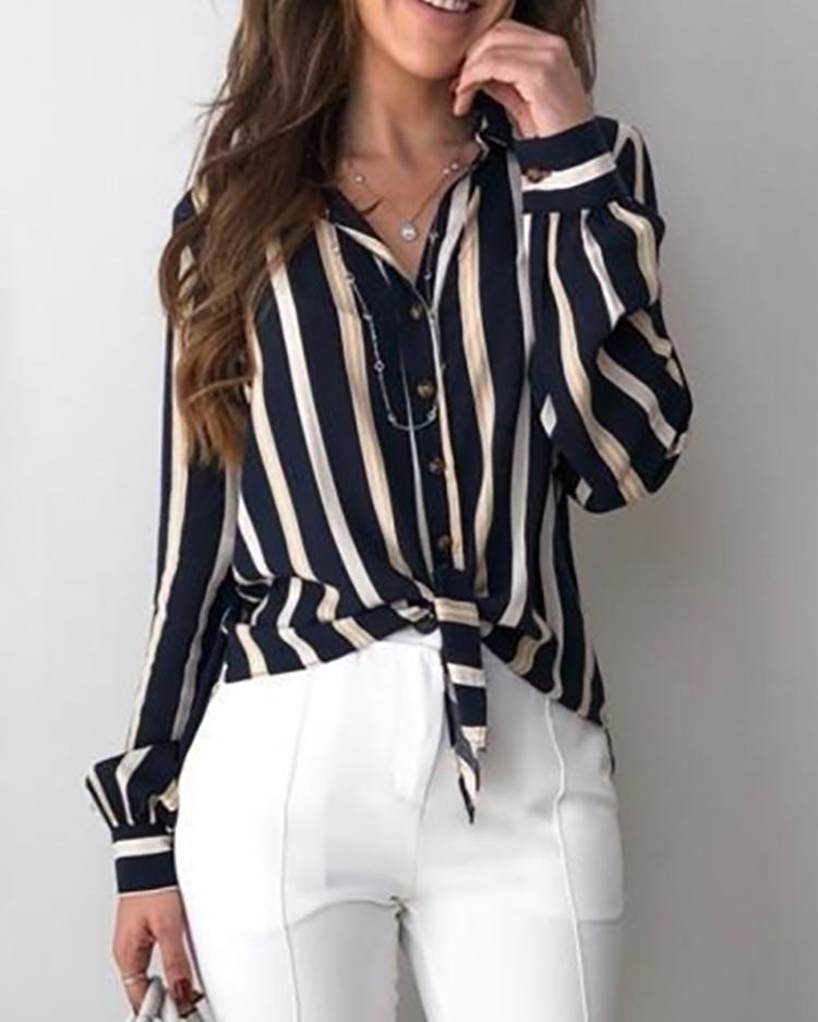 Contrast Stripes Button Up Knot Front Blouse фото