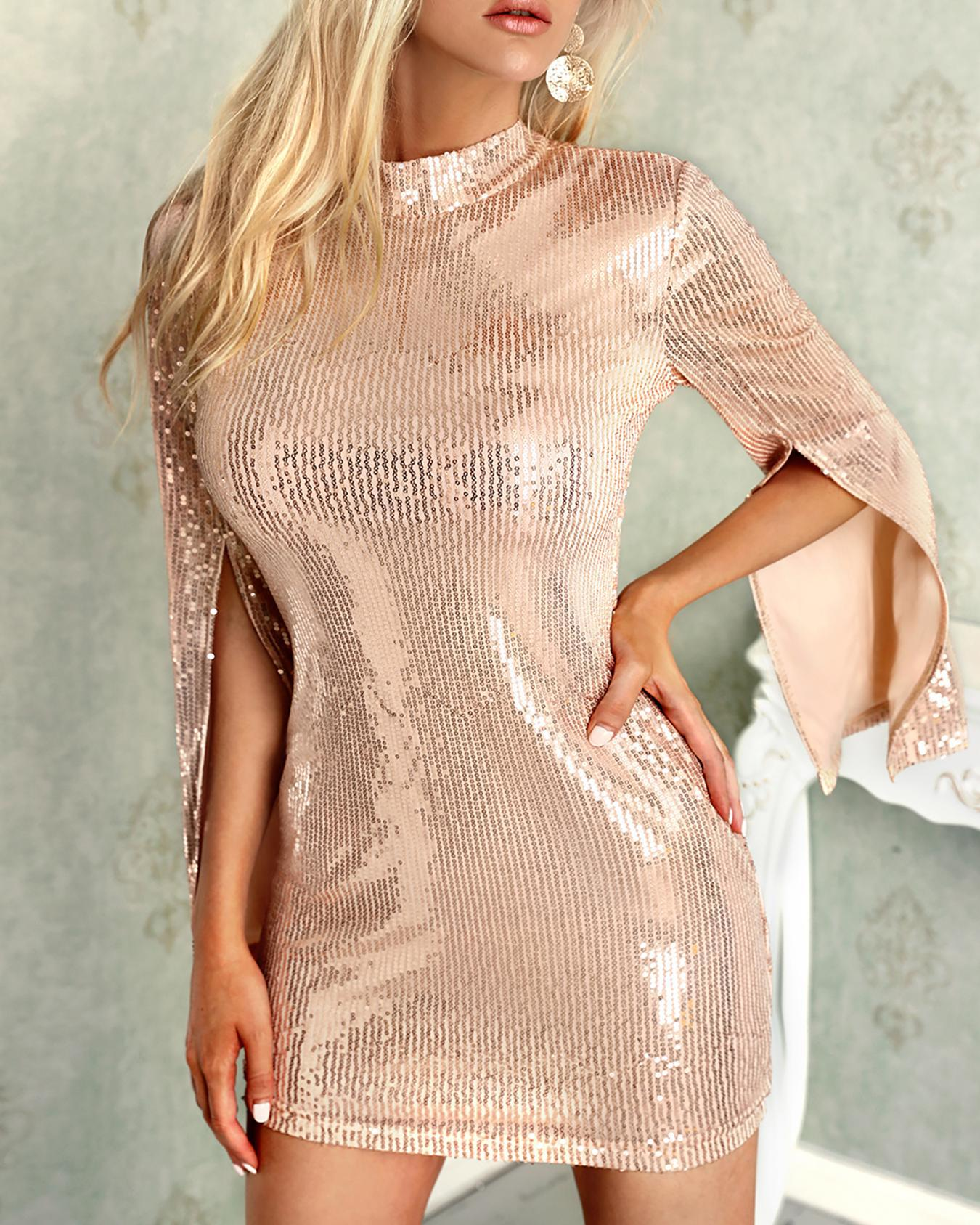 Image of Long Slit Sleeve Sequin Party Dress