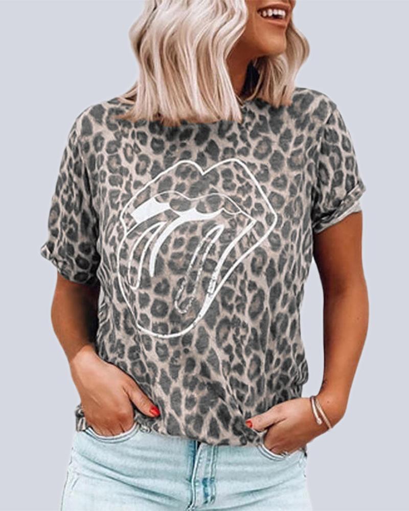 Leopard Lip Print T-Shirt фото