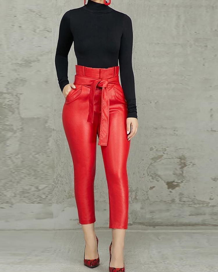 chicme / Bolsa de cintura alta com cinto de PU