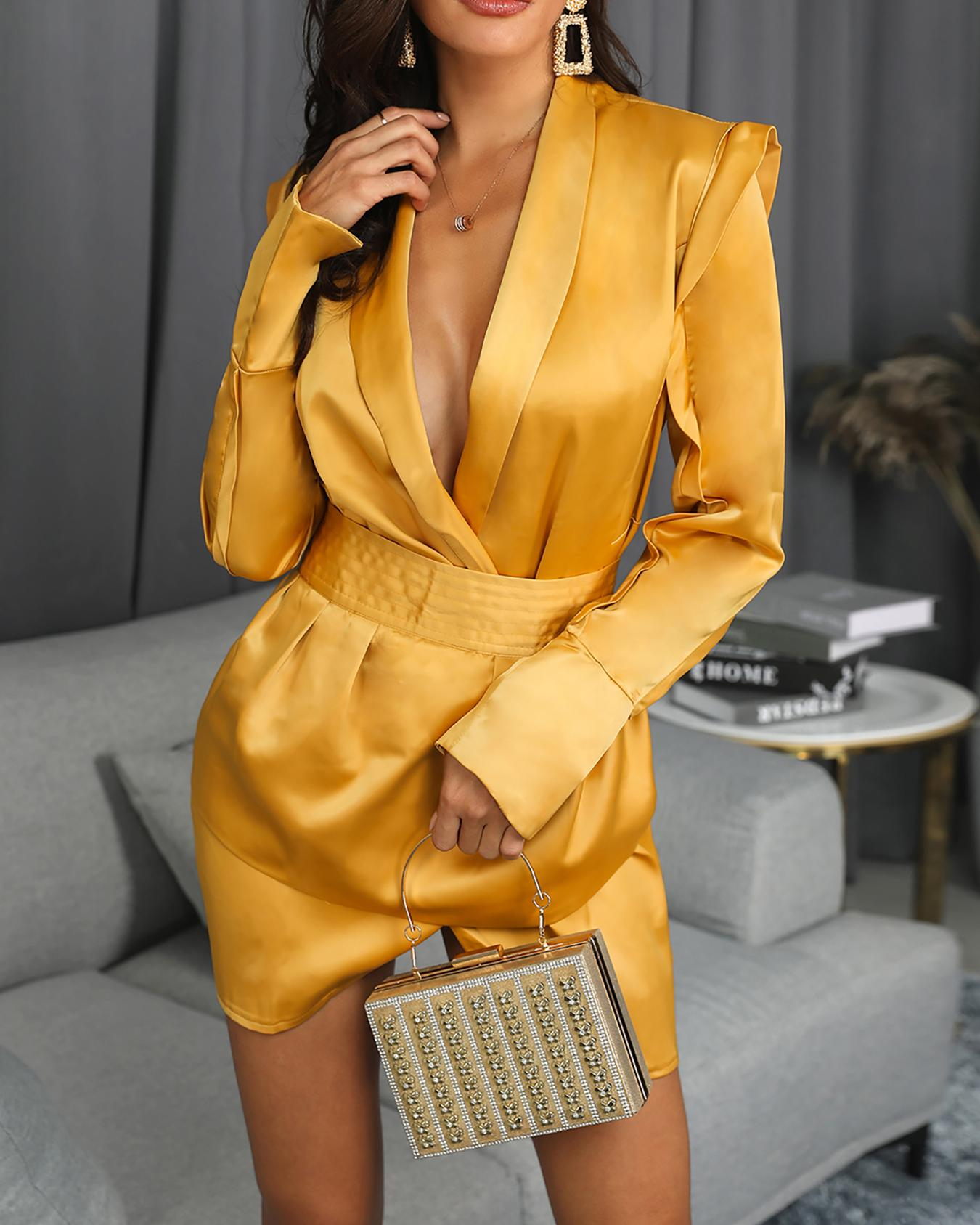 Long Sleeve Surplice Wrap Blazer Dress