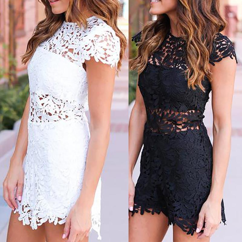 Attractive Lace Patchwork Cap Sleeve Mini Dress