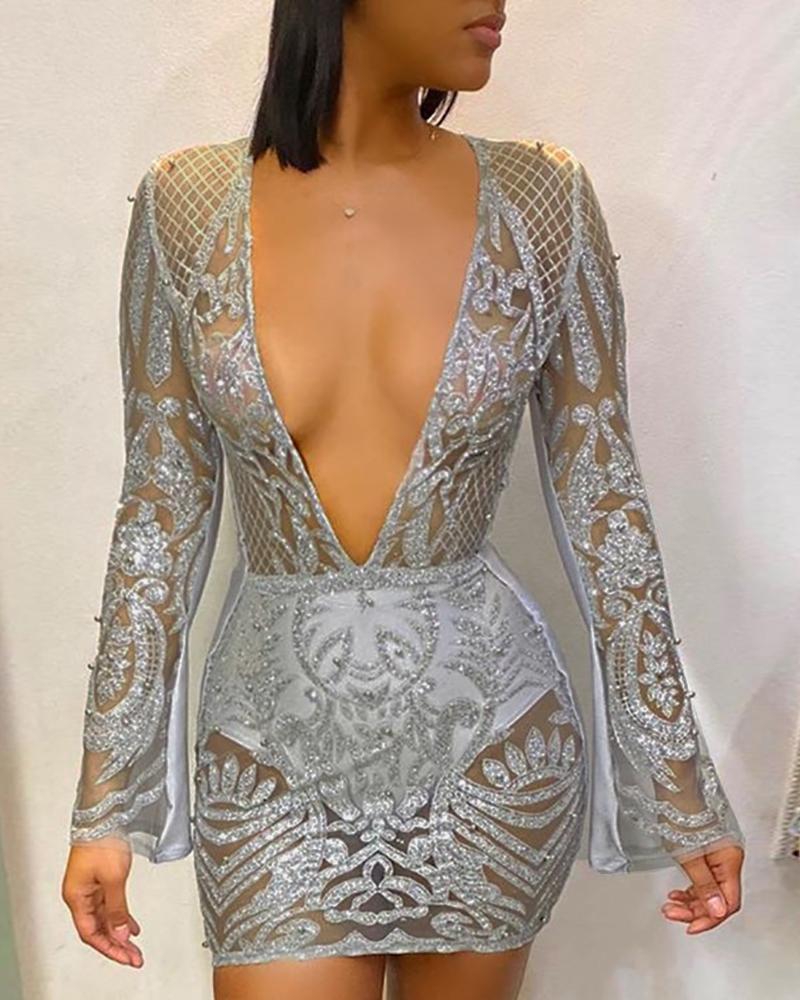 boutiquefeel / Vestido ajustado de malla con purpurina brillante