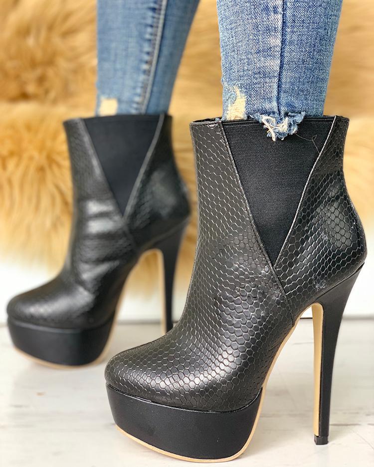 Snakeskin Insert Platform Thin Heeled Boots