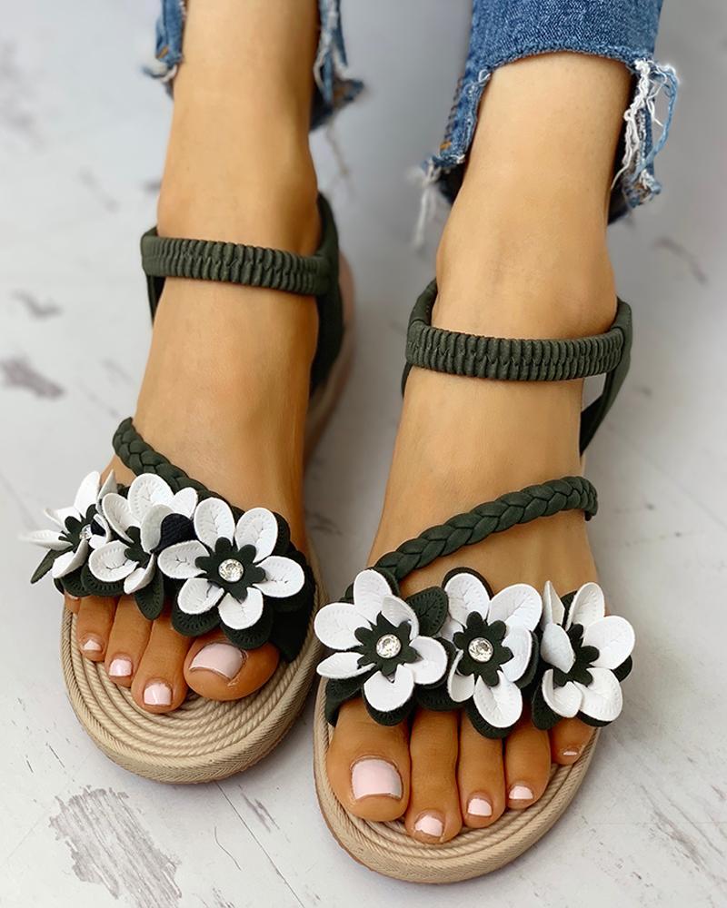 Flower Embellished Stud Braided Detail Sandals