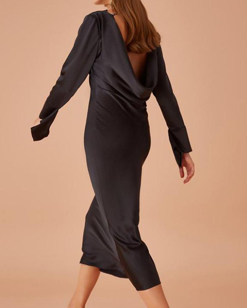 boutiquefeel / Vestido de satén con cuello drapeado y espalda abierta