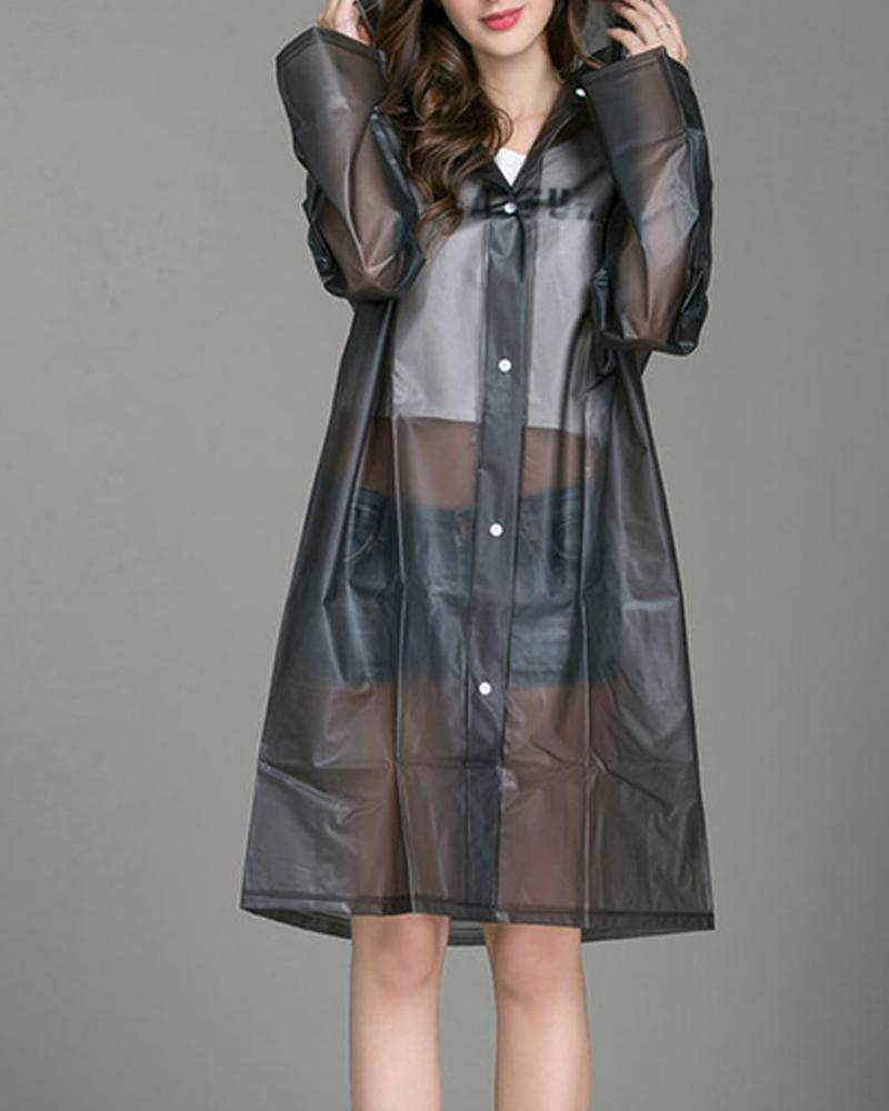 Clear Snap Placket Raincoat, Black