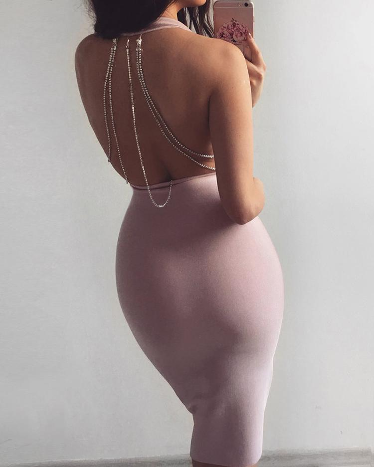 Plunge Studded Chain Open Back Bodycon Dress