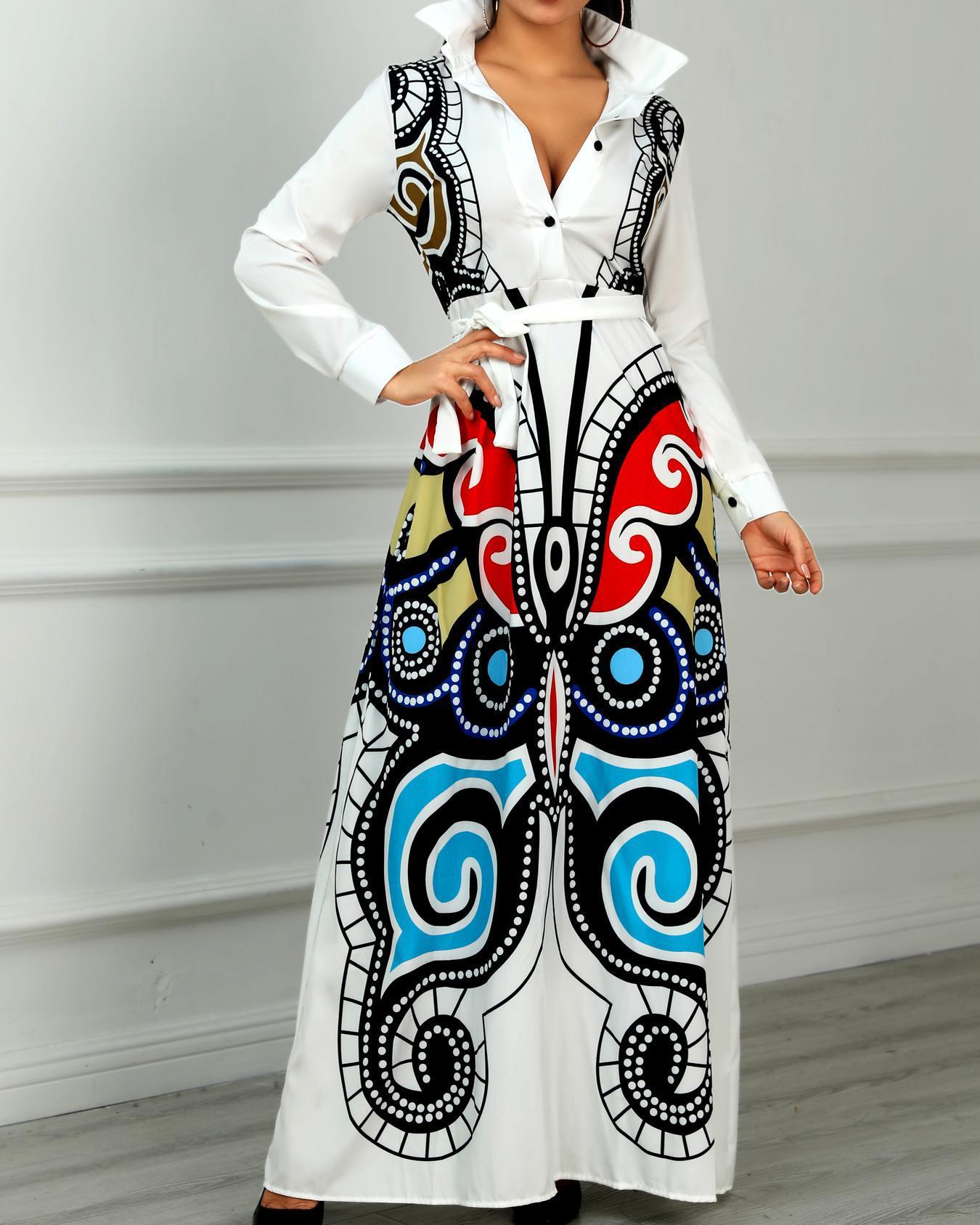 Abstract Print Long Sleeve Shirt Dress