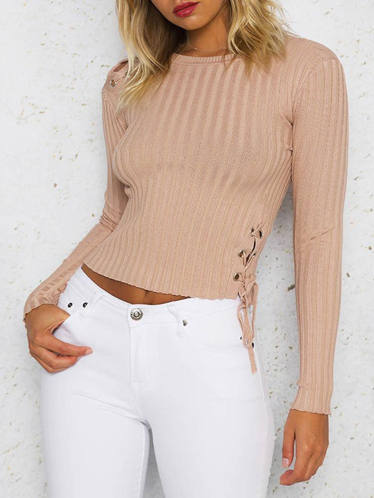 Grommet Lace-up Rib Cropped Blouse - Pink