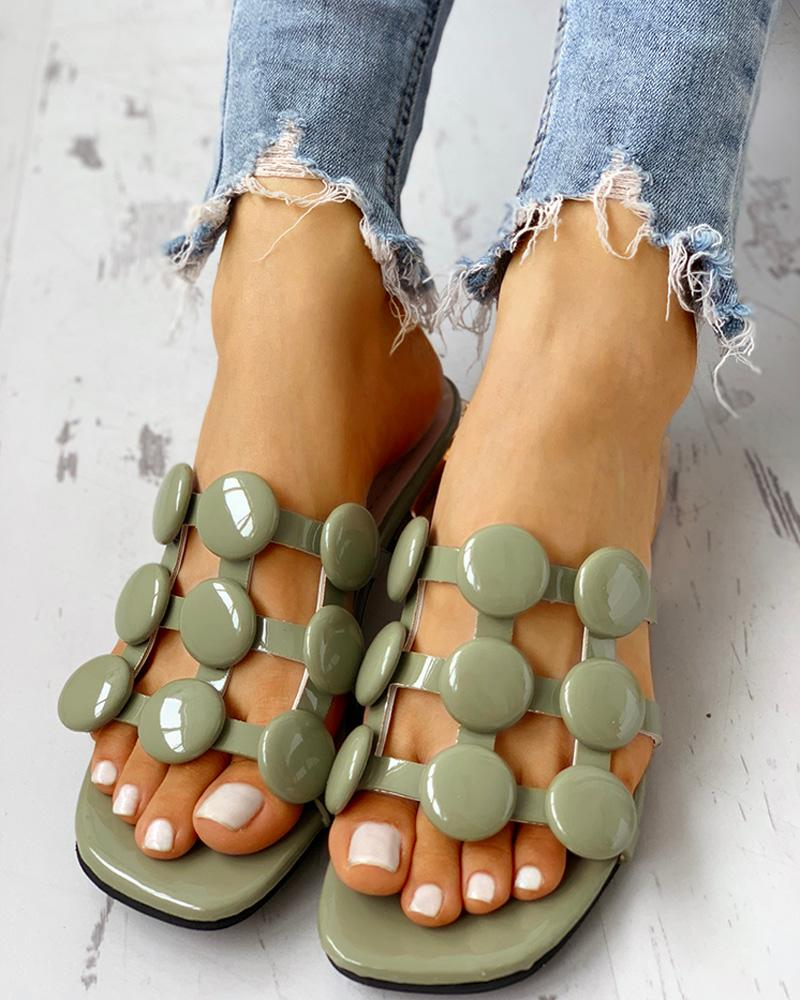Hollow Out Chunky Heeled Sandals фото