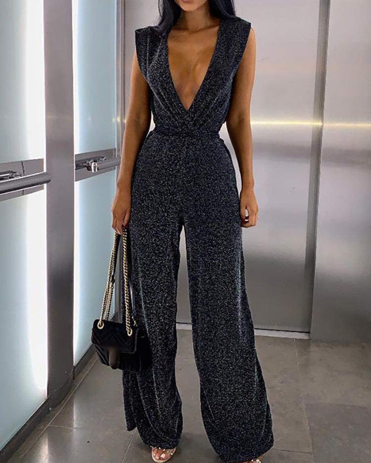 Plunging Sleeveless Wide Leg Glitter Jumpsuit