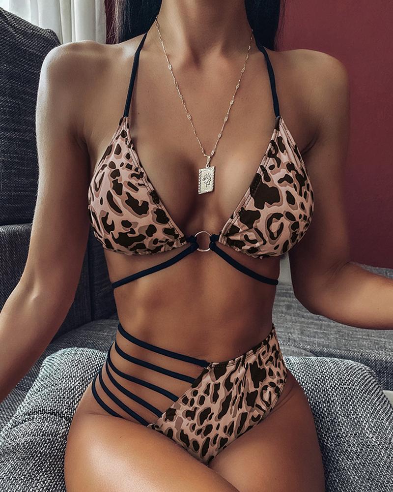 boutiquefeel / Conjunto de bikini de vendaje con corte halter ladder