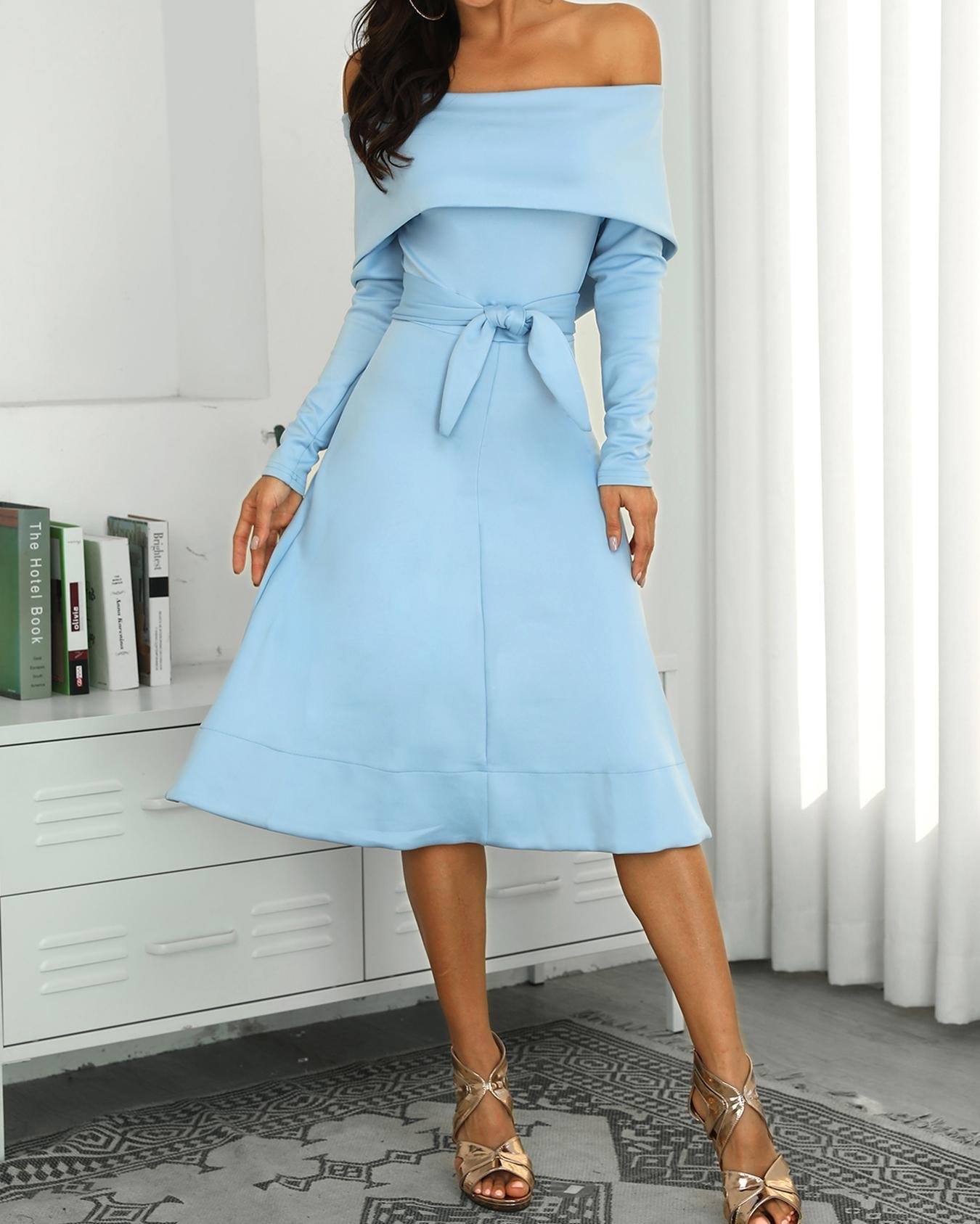 Fold-Over Off Shoulder Belted Long Sleeve Dress