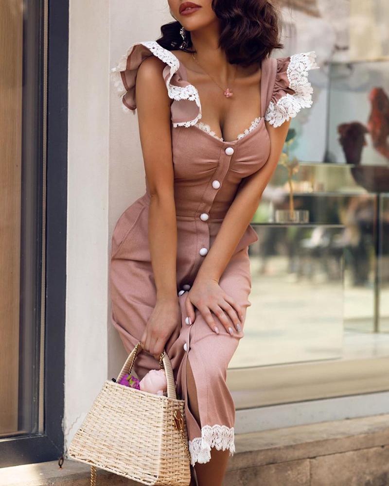Lace Insert Button Through Ruffles Dress