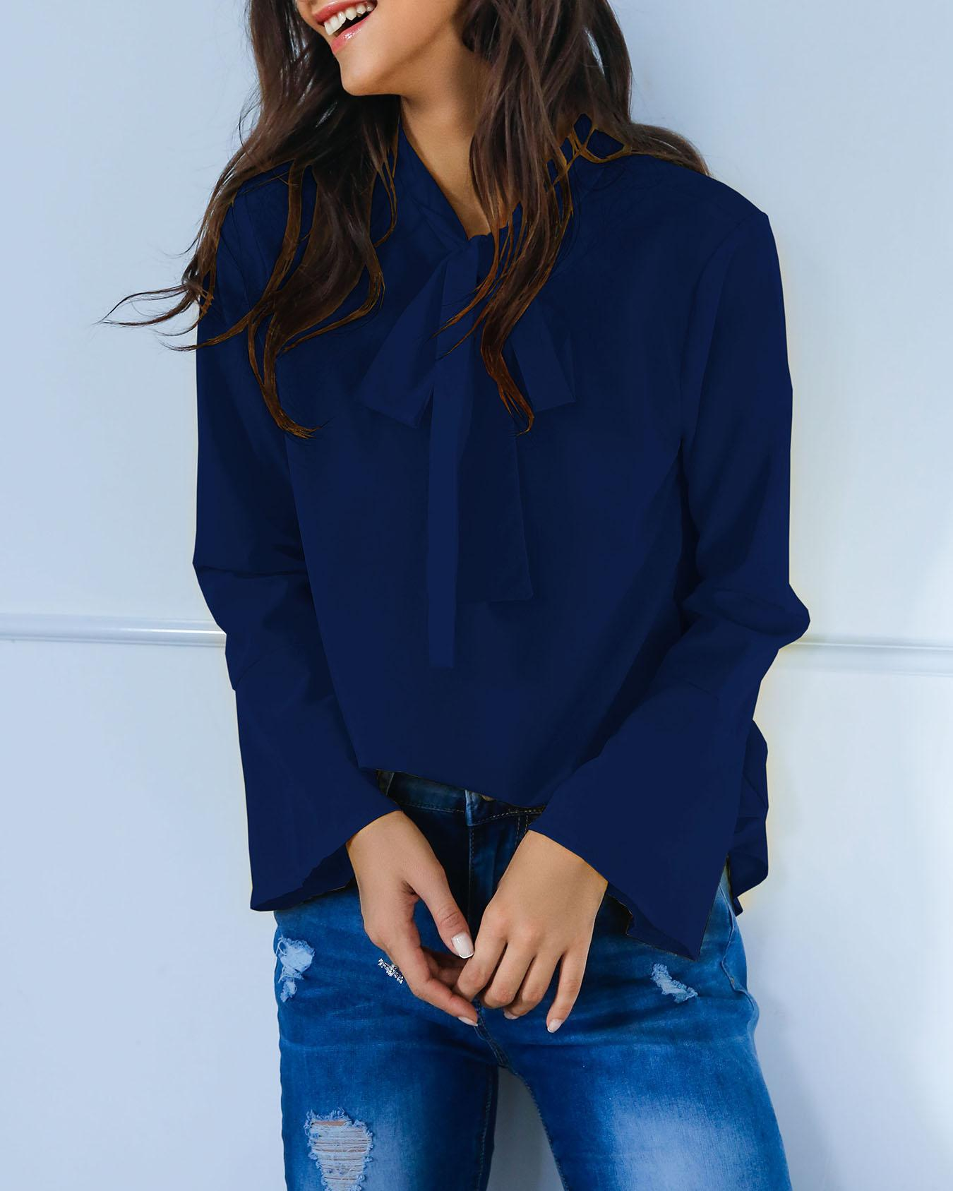 Stylish Solid Tie Neck Flared Sleeve Blouse