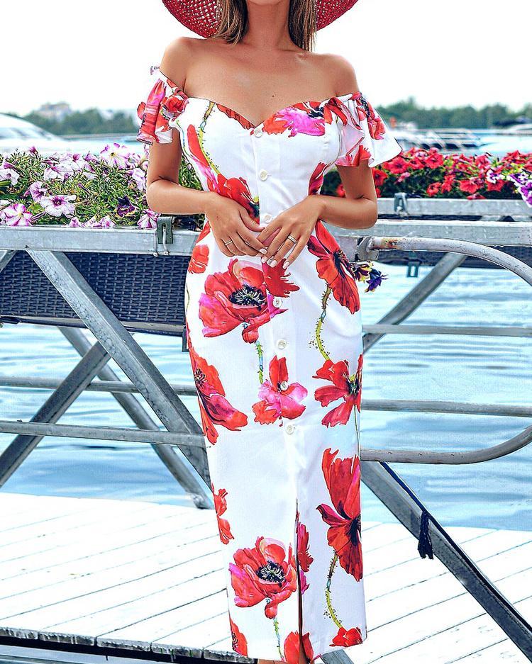Floral Print Flutter Sleeve Off Shoulder Bodycon Dress фото