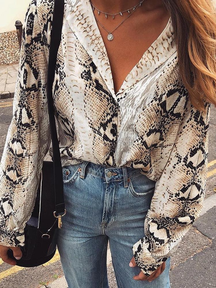Snakeskin Print Long Sleeve Loose Blouse фото
