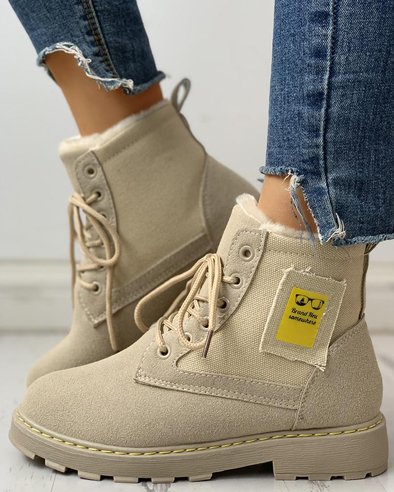 chicme / Eyelet Lace-Up Ankle-Boots