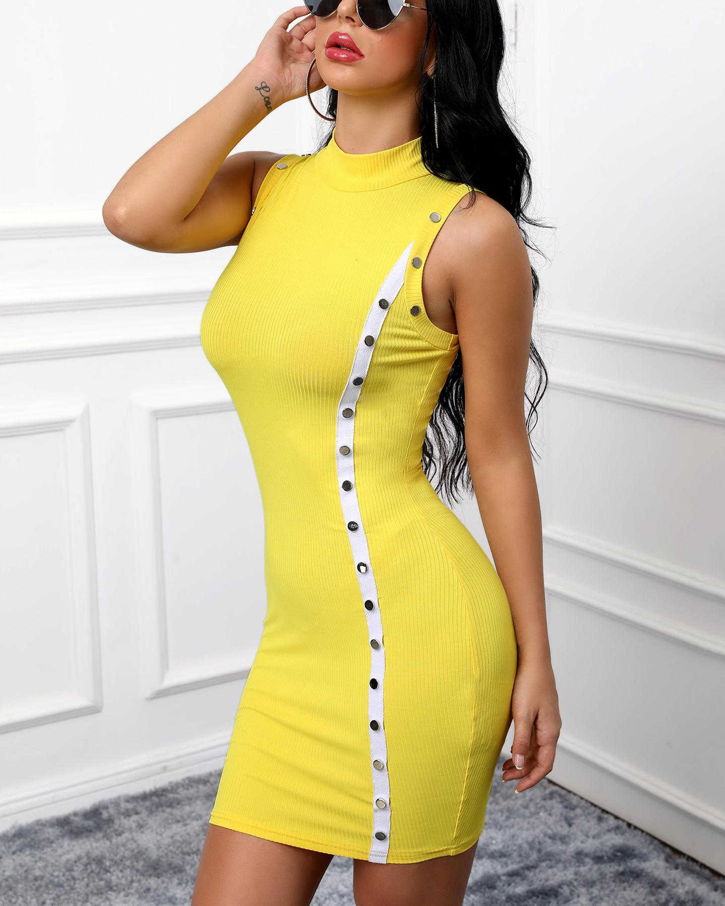 boutiquefeel / Mock Neck Sem Mangas Bodycon Mini Vestido