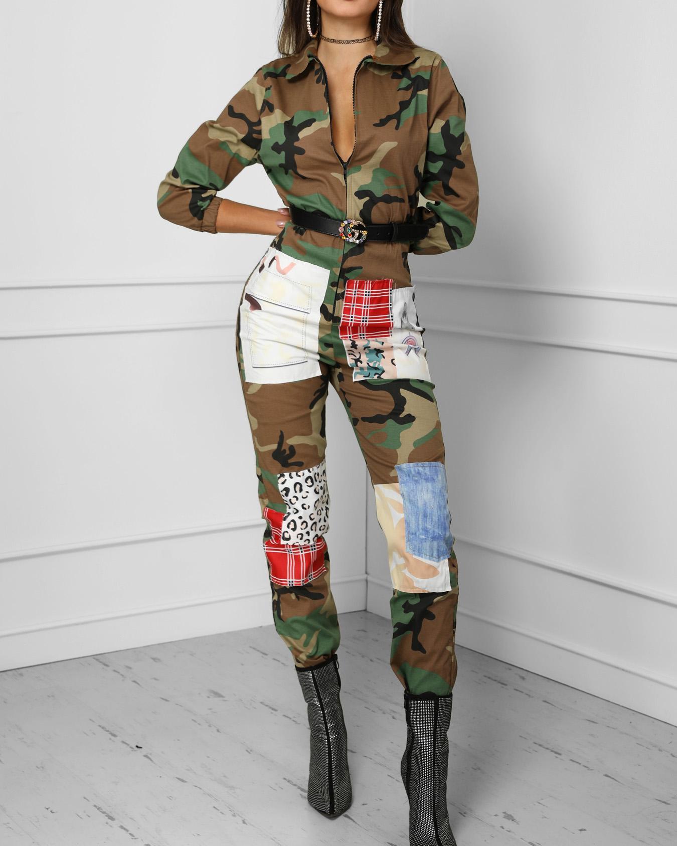 Camo Print Zipper Design Jumpsuits фото