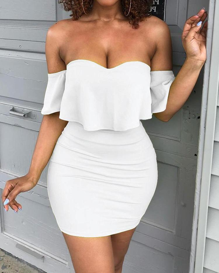 chicme / Solid Sweetheart Off Shoulder Mini Dress