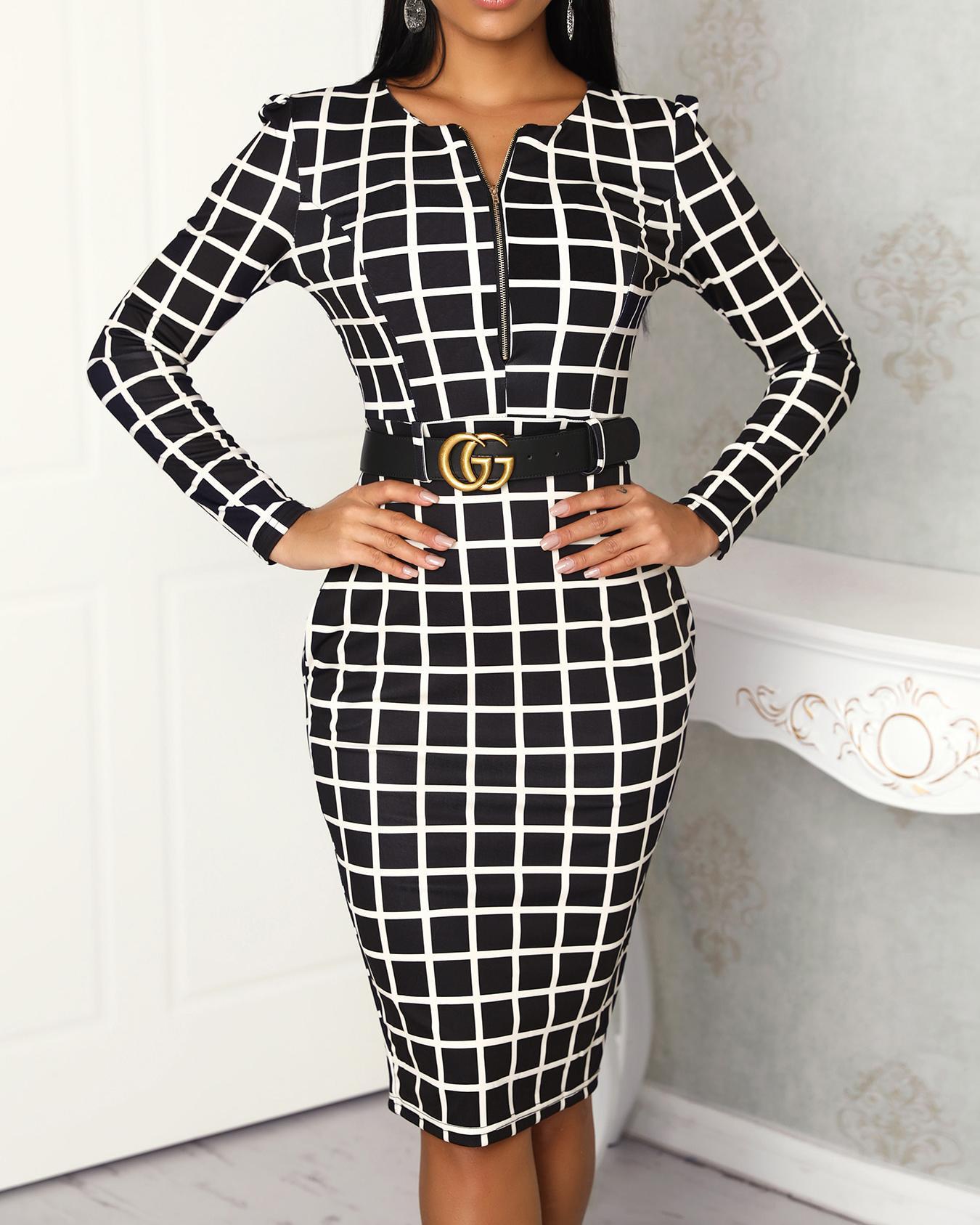 Grid Long Sleeve Zipper Up Bodycon Dress
