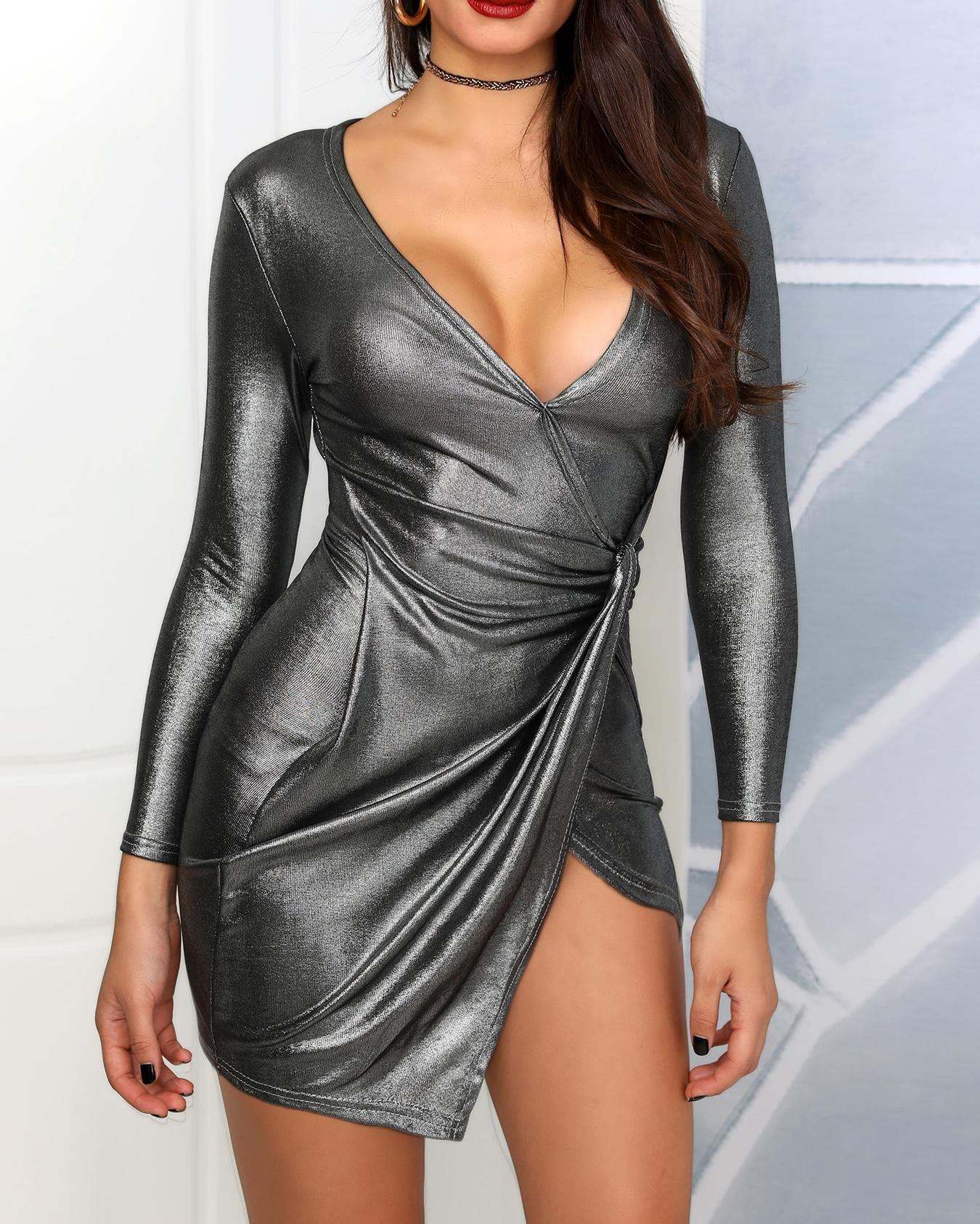 Wrapped Ruched Overlap Bodycon Dresses фото