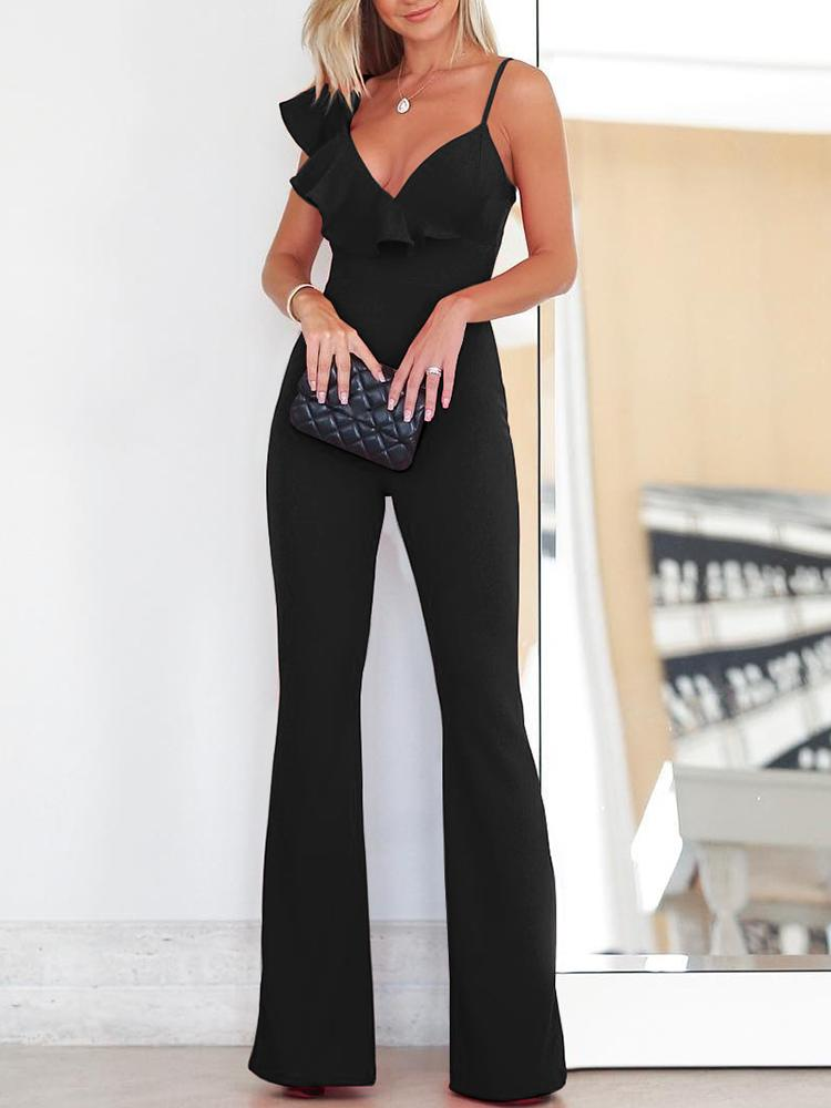 Solid Ruffle Asymmetrical Neck Flared Jumpsuit