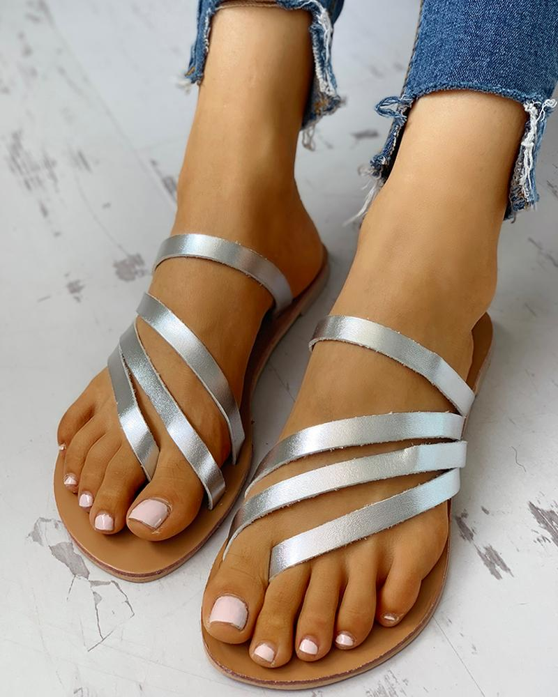 Solid Multi-Strap Casual Sandals фото