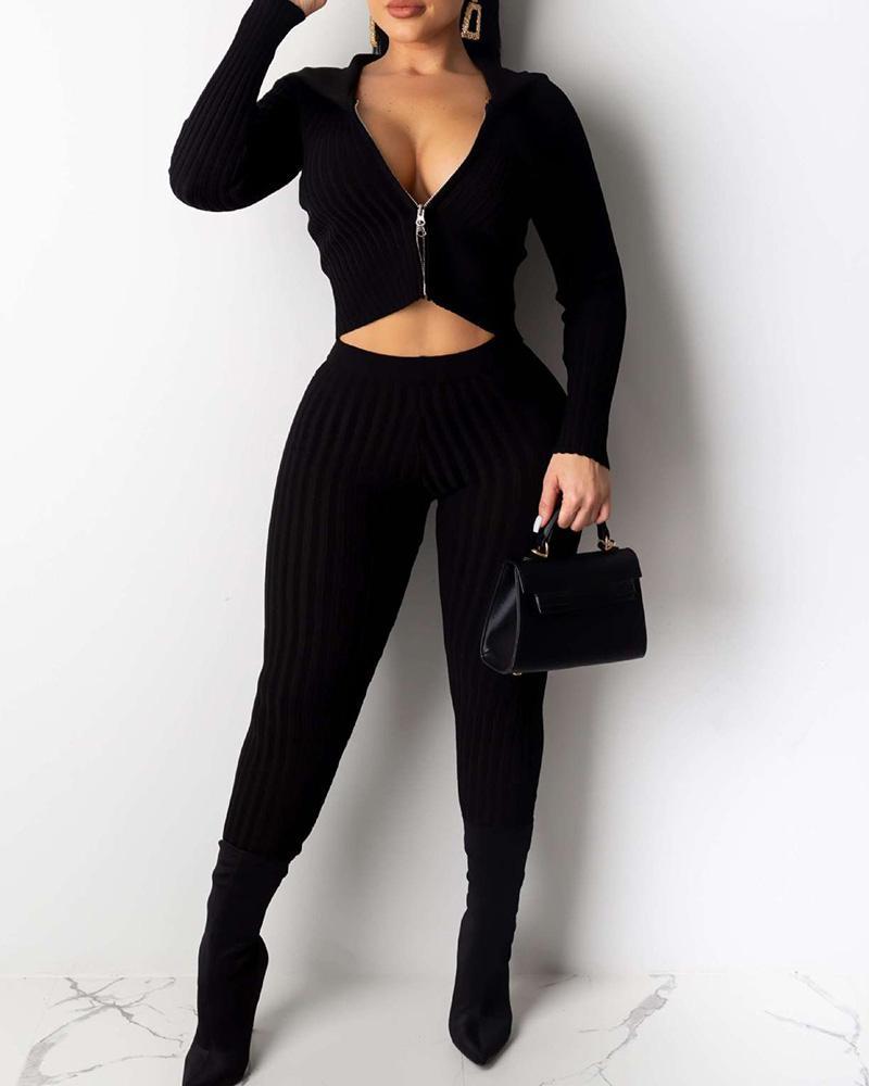 Solid Hooded Zipper Design Ribbed Crop Top & Pants Sets фото