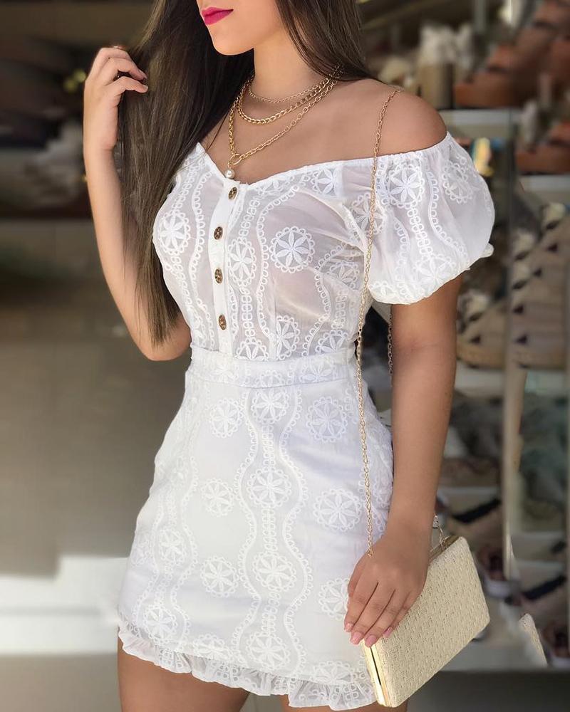 Off Shoulder Lantern Sleeve Lace Dress