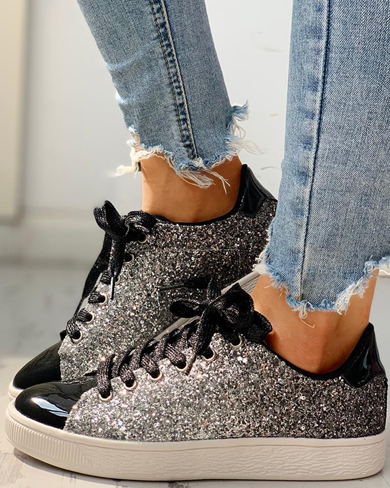 chicme / Zapatillas con cordones de lentejuelas brillantes