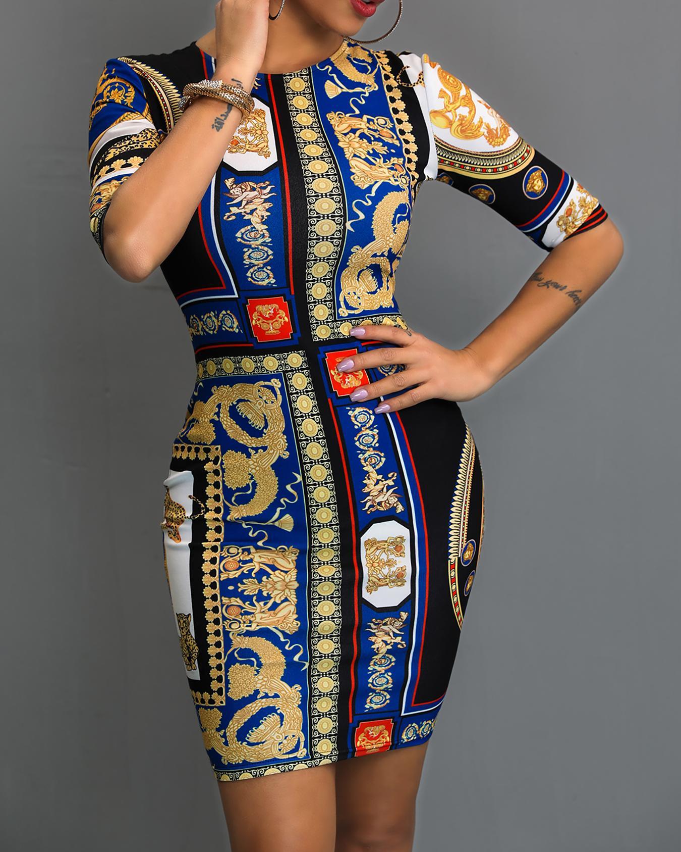 Ethnic Print Bodycon Mini Dress