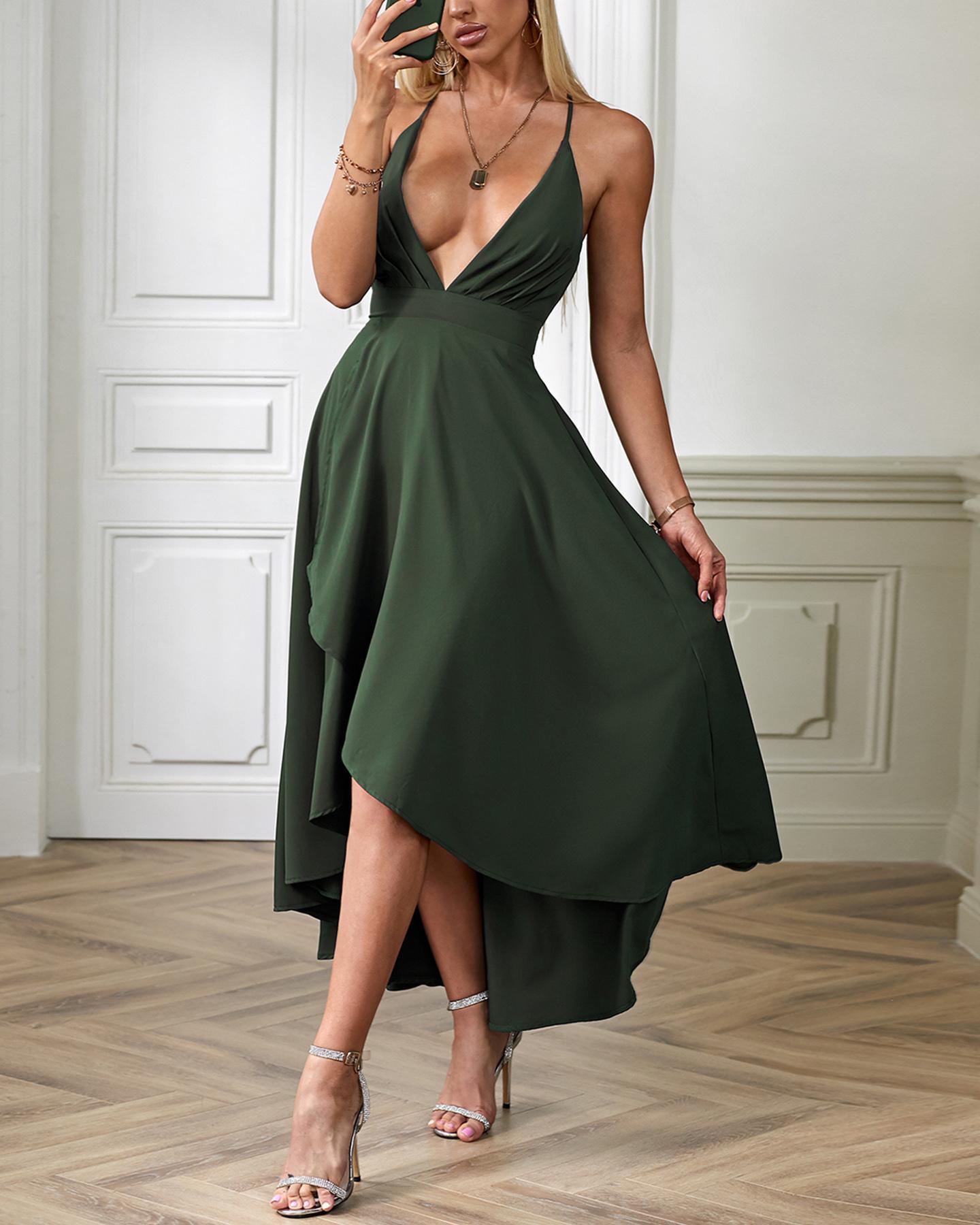 Deep V Asymmetric Cami Dress