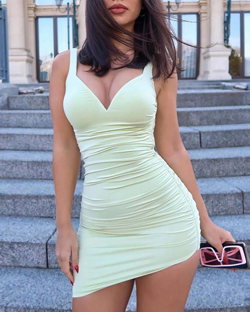 Solid V-neck Ruched Irregular Dress фото