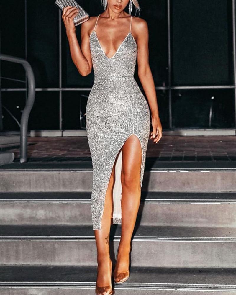 Spaghetti Strap Sequin Slit Bodycon Dress фото
