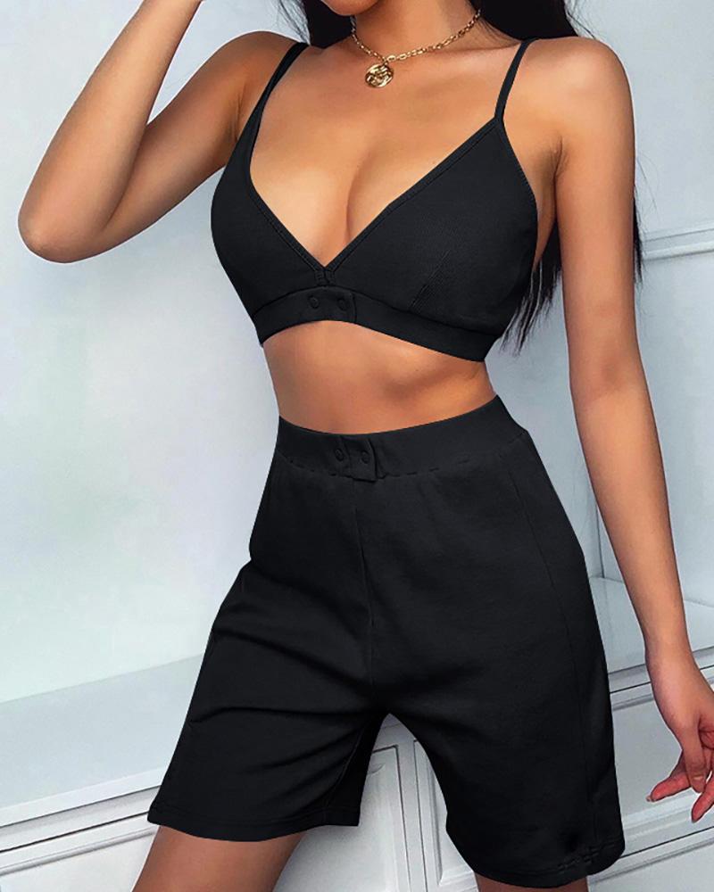 chicme / Conjunto de top e shorts de alças finas com alças finas