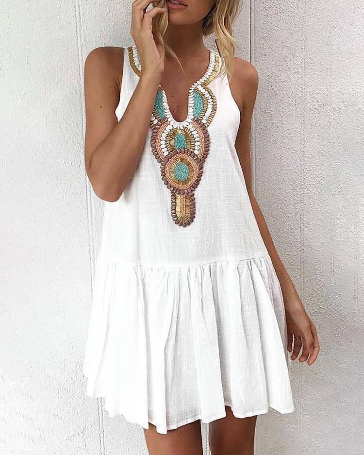 Deep V Retro Print Sleeveless Pleated Dress фото