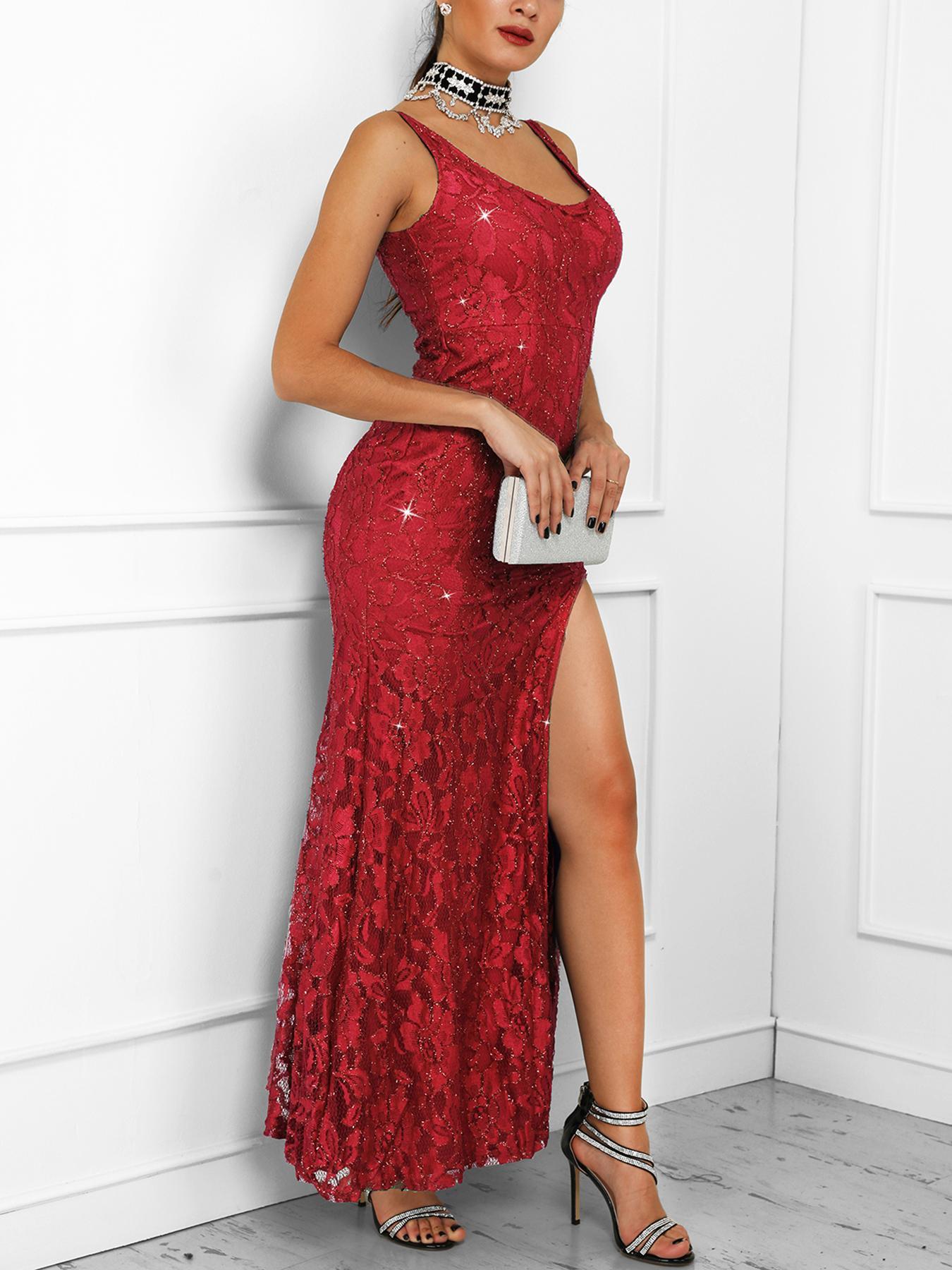 Sleeveless Thigh Slit Maxi Gown Dress фото