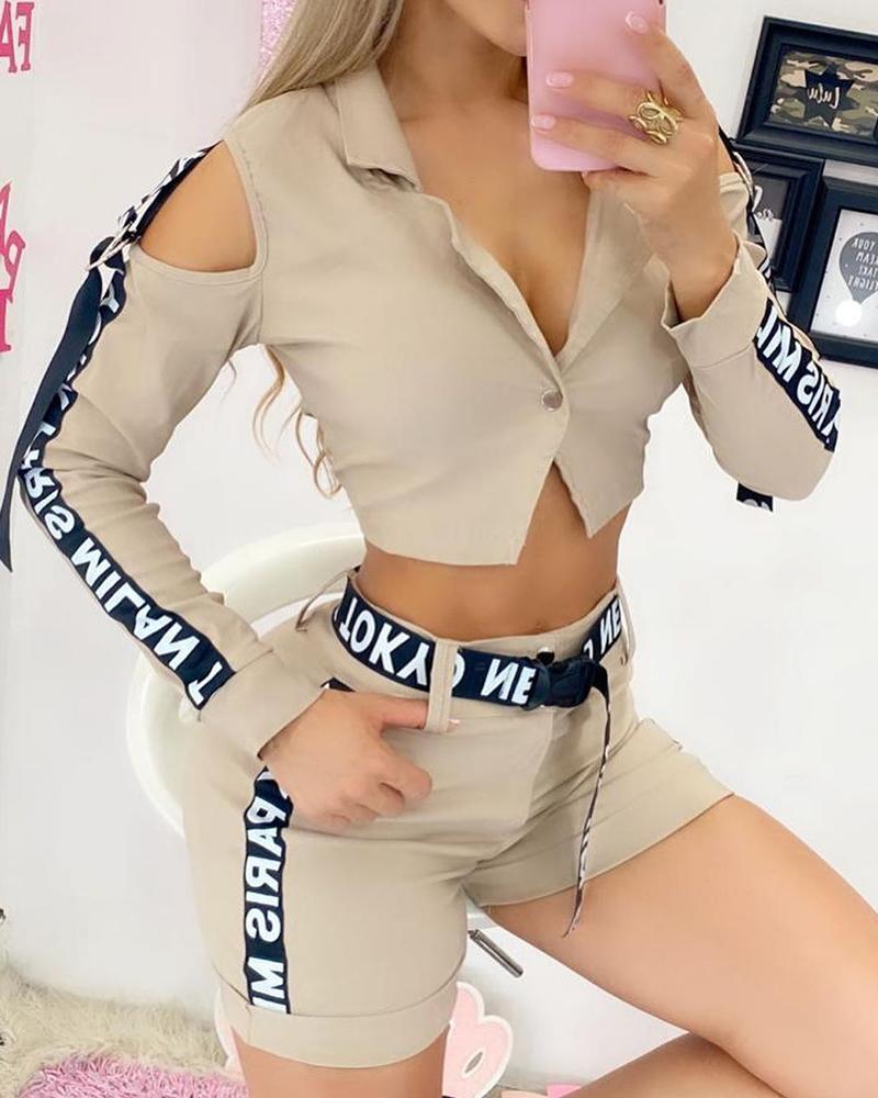 chicme / Conjunto de calções de cintura alta e blusa com fita adesiva de ombro frio