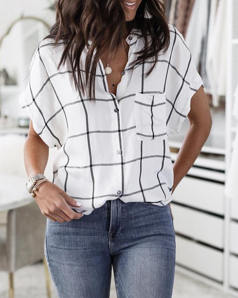 joyshoetique / Short Sleeve Grid Print Casual Blouse
