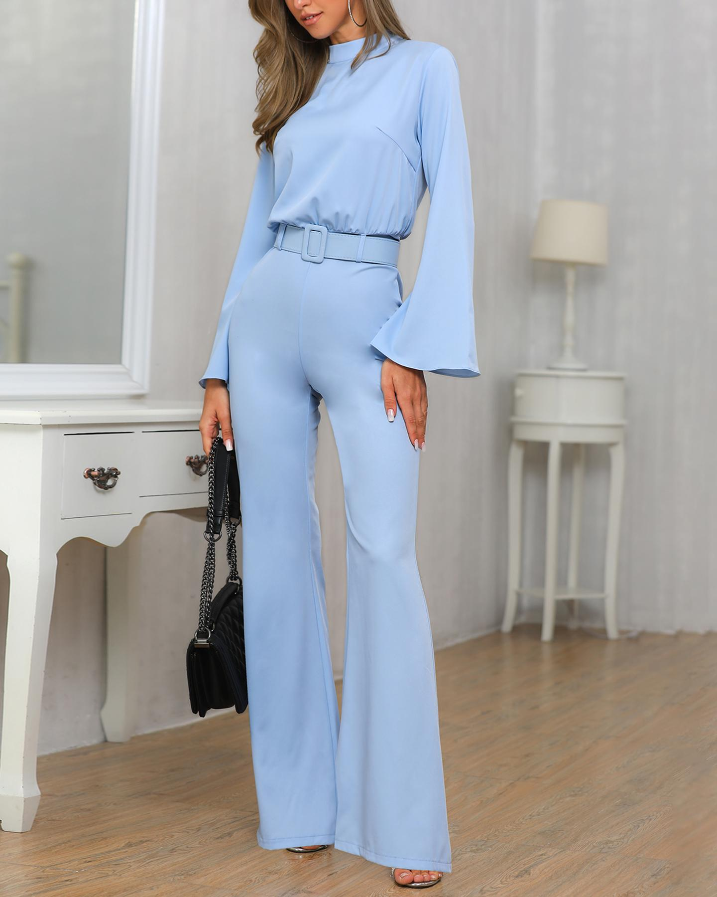 High Neck Bell Sleeve Wide Leg Jumpsuit With Belt chicme