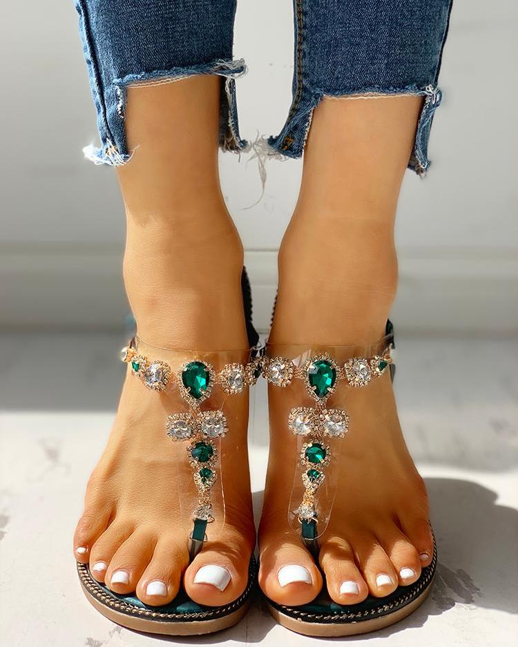Rhinestone Embellished Casual Flat Sandals