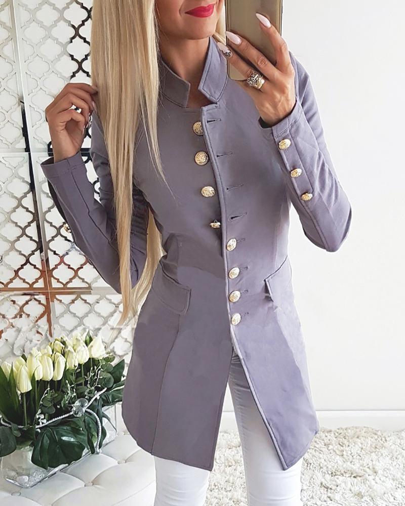 Solid Single Breasted Pocket Blazer Coat фото