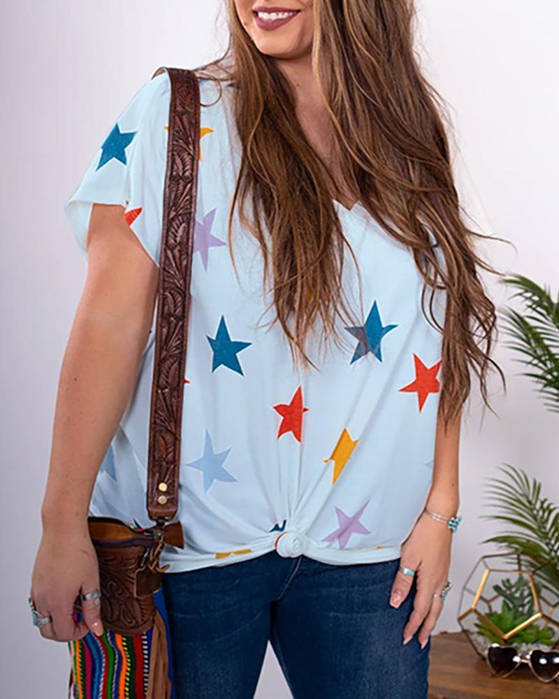 V-neck Stars Print Casual T-shirt фото