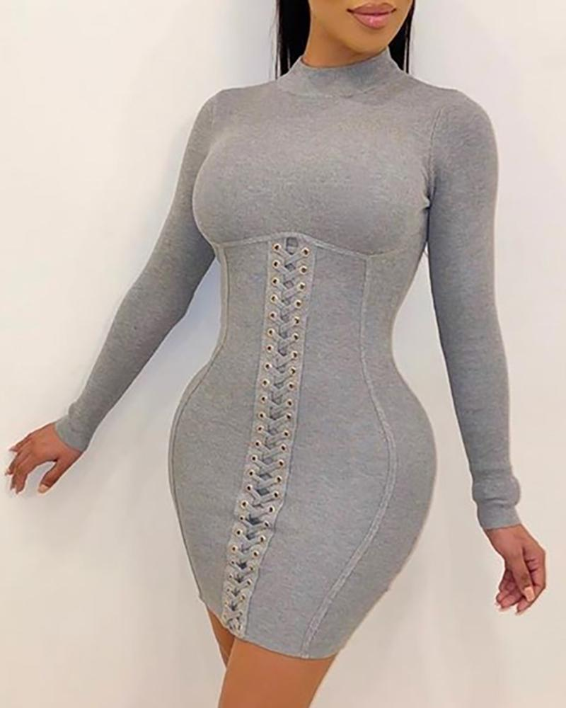 Solid Eyelet Lace-Up Bodycon Dress, Gray