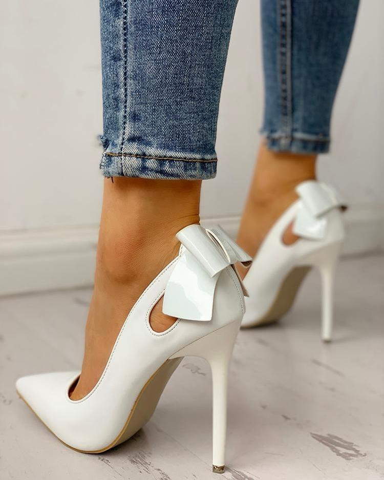 Pointed Toe Bowknot Cutout Thin Heels, White